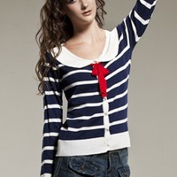 OASAP - Preppy Middy Collar Stripes Printing Knitted Cardigan with Bowknot Embellished - Street Fashion Store