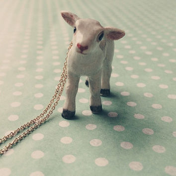 Gold Lamb Necklace, sheep, vegan, Dainty Jewelry, Ceramic, Hand Painted, Kawaii, Kitsch, Farm animal, gift for her