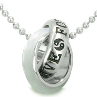 Positive Forever Eternity Double Rings Yin Yang Amulet White Cats Eye Pendant 22 Inch Necklace