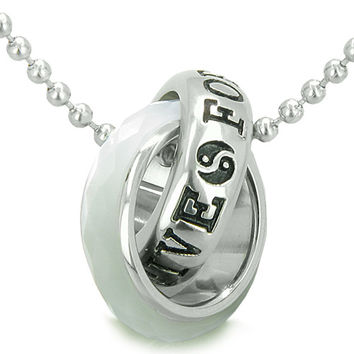 Positive Forever Eternity Double Rings Yin Yang Faceted White Cats Eye Pendant 18 Inch Necklace