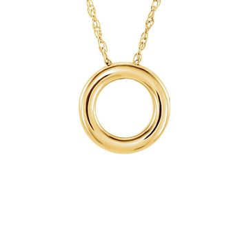 Polished 13mm Circle Necklace in 14k Yellow Gold, 18 Inch