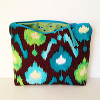 Ikat patterned zipper bag, a cosmetic bag, makeup case, small zipper pouch