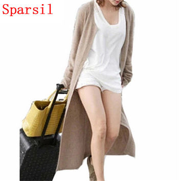 Sparsil Women's Spring&Autumn Cashmere Blend Cardigan Long Sweater Single Breasted Female Knitted Sweaters O-Neck Thin Cardigans