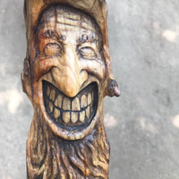 Wood Carving Wood Spirit, Face Sculpture Handmade in Ohio by Josh Carte, A Unique and OOAK Wood Gift, Wall Hanging Art, Old Mountain Man