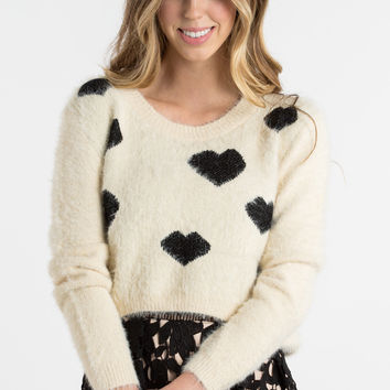Julia Black and Cream Heart Cropped Sweater