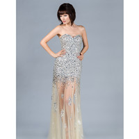 2013 Prom Dresses - Champagne Strapless Sequin Prom Dress - Unique Vintage - Cocktail, Pinup, Holiday & Prom Dresses.