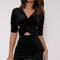 Crossed on Chest Sleeve V-Neck Slim Package Hip Dress