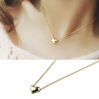 2016 Hot Sale Simple Smooth Small Women Heart Crystal Rose Gold Pated Pendant Necklaces Jewelry Good-looking JUN 22