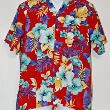 Tahitian Sunset Club Hawaiian Shirt, Aloha Shirt, Red, Floral, Hibiscus, Palms, Tropical, Surfer, Men's Size Medium, Made in USA, Kitsch