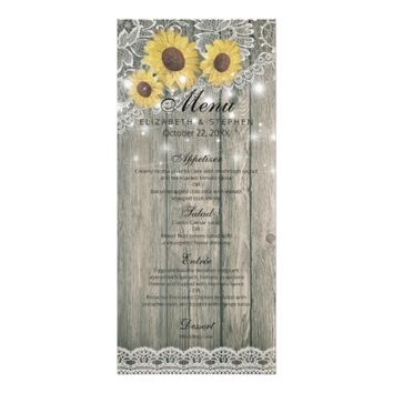 Rustic Wood Sunflowers Elegant Lace Wedding Menu