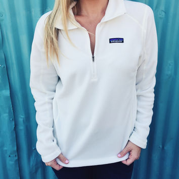 Patagonia Women's Micro D Quarter Zip Fleece- White
