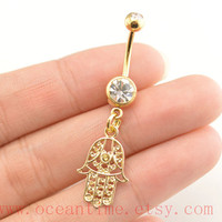 hamsa hand Belly Button Rings,hand Navel Jewlery,gold belly button ring,friendship belly button ring