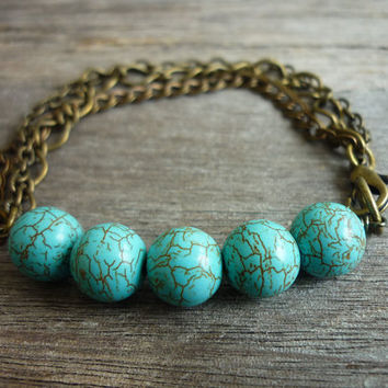 Turquoise beads & Mixed Chains Bracelet