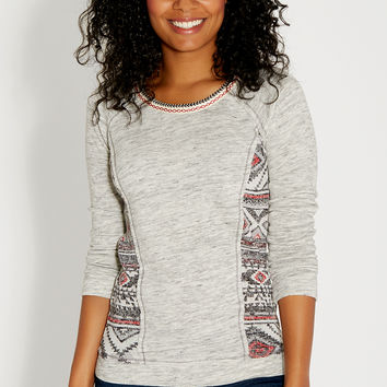 french terry pullover with ethnic knit and embroidery
