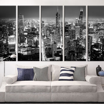 Extra large art chicago city night canvas art print large wall art black white
