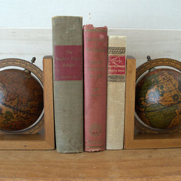 Vintage World Globe Bookends,  Decorative Wood Bookend, Old Globe Book Ends