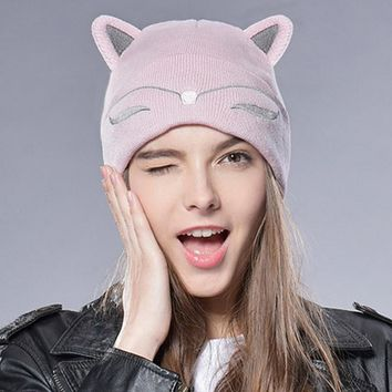 Mom and Baby Knitted Hat Cat Ear Cuff Beanie Women Kids Hats Ski Cap Cute Autumn Winter Girls Boys Skullies Children Sombrero 15