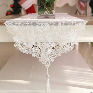 Hot European table runner luxury lace tablecloth wedding decoration elegant pendant piano cover romantic embroidery table covers
