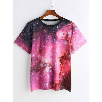 Starry Space Print T-shirt