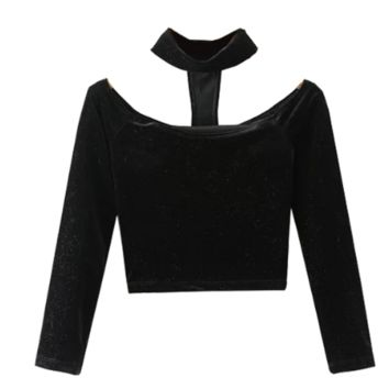 choker velvet summer Crop Top tg
