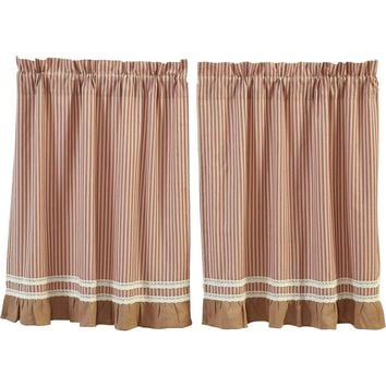 Kendra Stripe Red Tier Curtains 36""