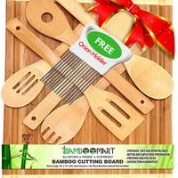Bamboo Cutting Board with 6-Piece Kitchen Utensils Set & Onion Holder