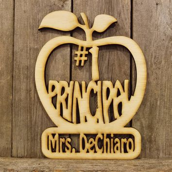 Number #1 Principal Personalized Name Plaque- laser cut wood sign