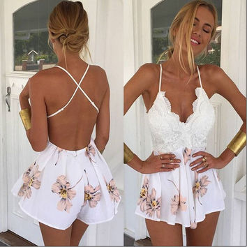 2017 macacao feminino Summer Lace Halter V Neck Floral Playsuit Sexy Shorts Rompers Womens Bodysuit Overall Jumpsuits