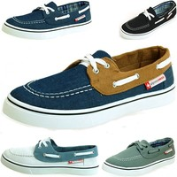 Men's Antigua Boat Shoes by Alpine Swiss Lace up Deck Sneakers Moccasin Oxfords