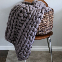 "30""x42"" Small Size Merino Wool Thick Knit Blanket"