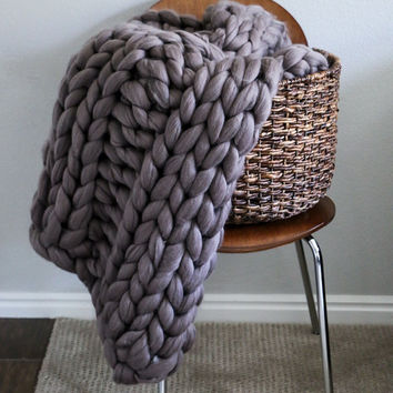 """30""""x42"""" Small Size Merino Wool Thick Knit Blanket"""