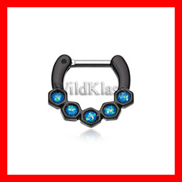 Black Septum Clicker Light Blue Opal Hexa Gemina 16g 14g Septum Ring Cartilage Earrings Nipple Ring Circular Barbell Tragus Jewelry Helix