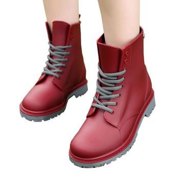 Women Rain Boots Lace-up Ankle Martins Shoes Plain Flap Casual Walking Waterproof Rubb