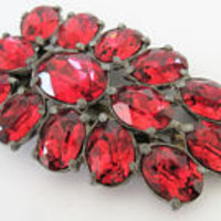 Art Deco Dress Clip, Czech Red Rhinestone, 30's Pot Metal