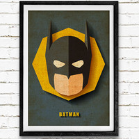 Batman Watercolor Art Print Paper Cut Poster, DC Comics Superhero, Nursery Room Wall Art, Home Decor, Not Framed, Buy 2 Get 1 Free