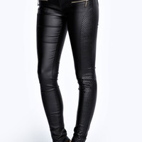 Cathy Quilted Side Wet Look Skinny Trousers