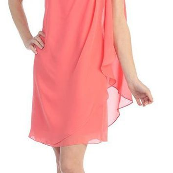 CLEARANCE - Layered One Shoulder Short Coral Chiffon Club Dress (Size Medium)