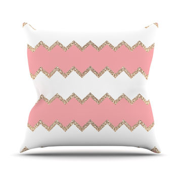 "Monika Strigel ""Avalon Coral Chevron"" White Blush Throw Pillow"
