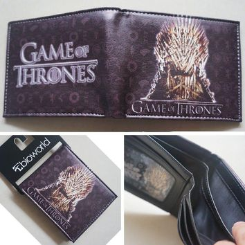 2018 New HBO Game of Thrones Iron Throne Logo Gold wallets Purse 12cm Leather Hot W072