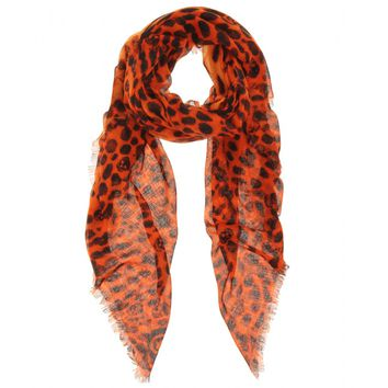 alexander mcqueen - cashmere-silk skull and animal print scarf