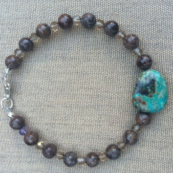 Genuine turquoise and Jasper bracelet with sterling clasp