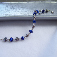 Royal Blue and Grey Freshwater Pearl Beaded Bracelet - Handmade Bracelet