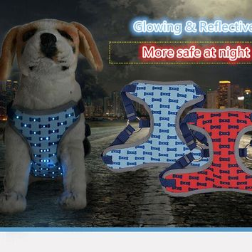 FD153 Reflective LED  light nylon pet dog vest harnesses  and pet  leashes set New arrival