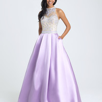 Madison James 16-397 In Stock Purple Size 4 High Neck Jeweled Mikado Ballgown Prom Dress
