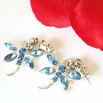Dragonfly Earrings - light blue - costume jewelry
