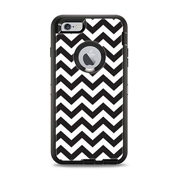 The Black and White Zigzag Chevron Pattern Apple iPhone 6 Plus Otterbox Defender Case Skin Set
