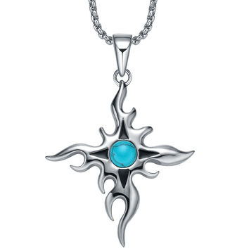 Stainless Steel Sun Star Cross W. Synthetic Turquoise Bead Pendant Necklace