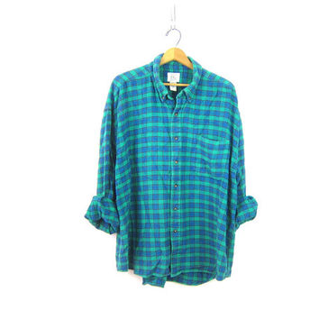 Women's Flannel Shirt Green & Blue Plaid Button Up Top Oversized Baggy Soft Cotton Flannel Shirt Rugged Camping Men's Size 2XL XXL DELLS