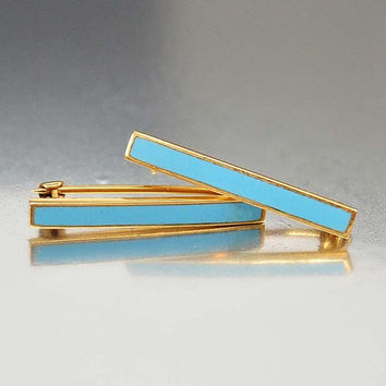 Antique Victorian 10K Gold Lingerie Pins, Blue Guilloche Enamel, Victorian Gold Pin, Antique Jewelry, Edwardian Era, Bar Pin