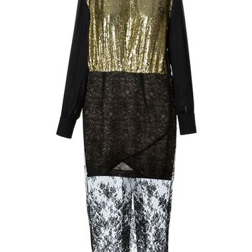 Alessandra Rich metallic lace sheer panel dress